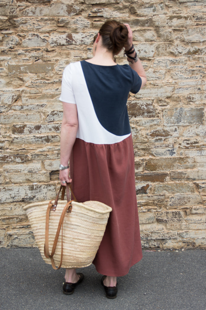 navy white rust brown dress