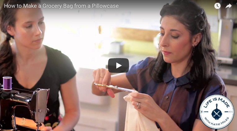 how to sew a grocery bag from a pillow case
