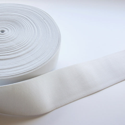 White double knitted elastic - 50mm