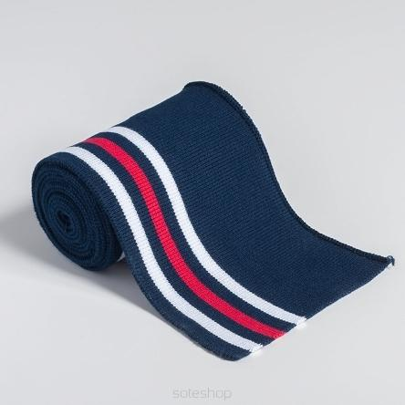 Flat Cuff - Navy blue with Red & White stripes