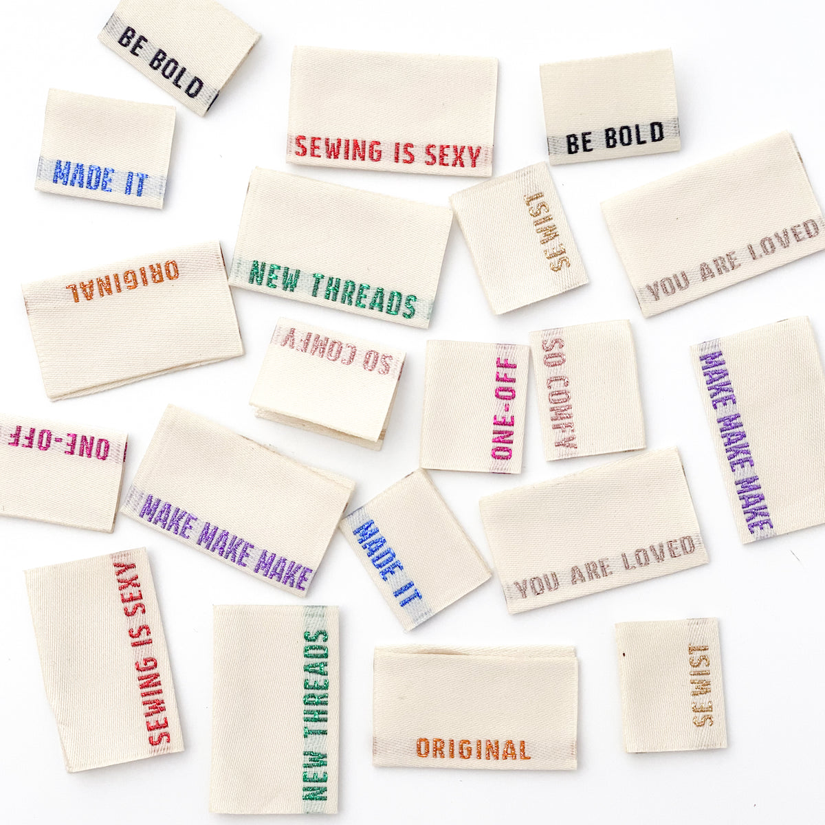 10 Woven Labels - LIMITED EDITION Multi Pack - metallic side seam labels - MaaiDesign