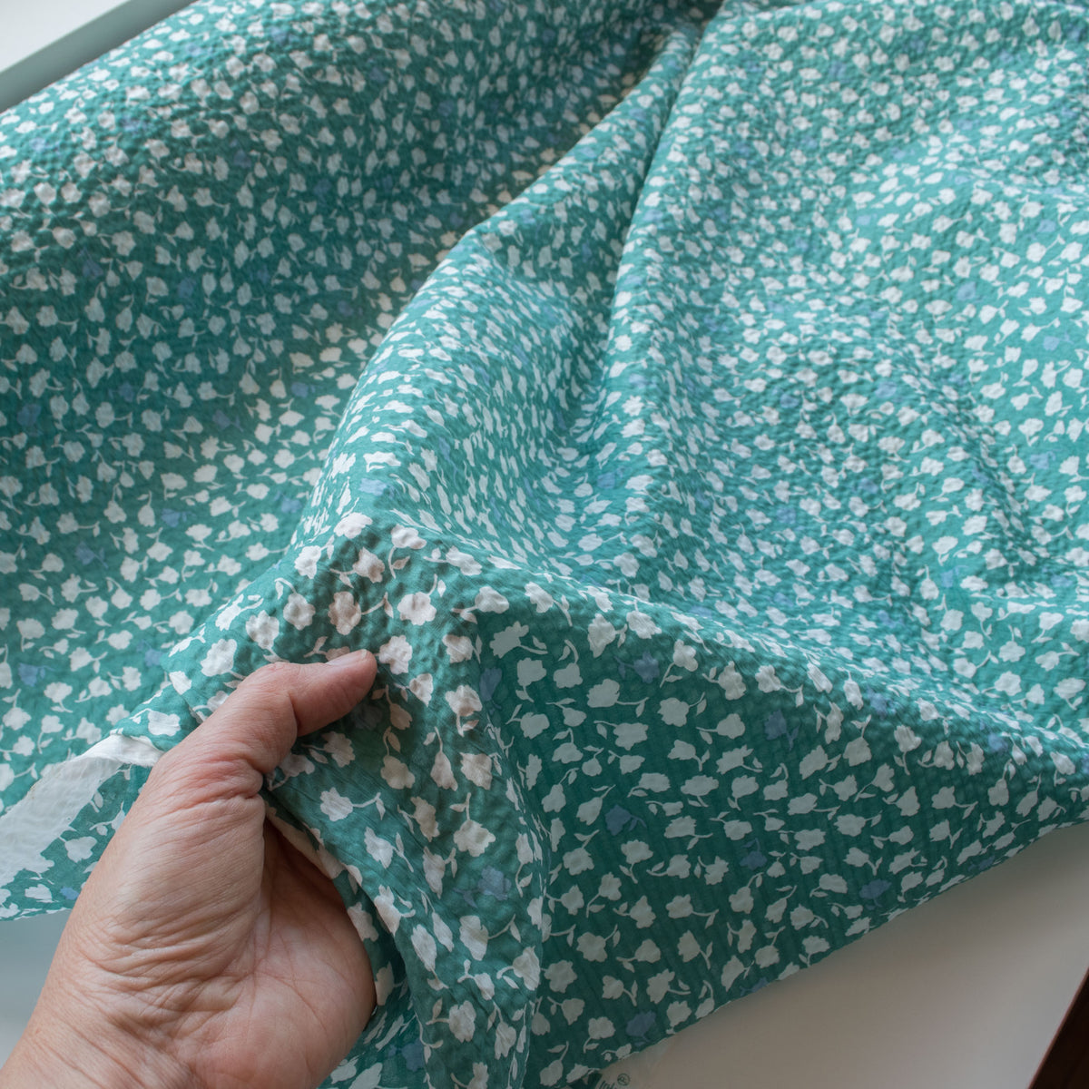 Japanese Crinkle Cotton - Belle Fleure - Sea Green - MaaiDesign