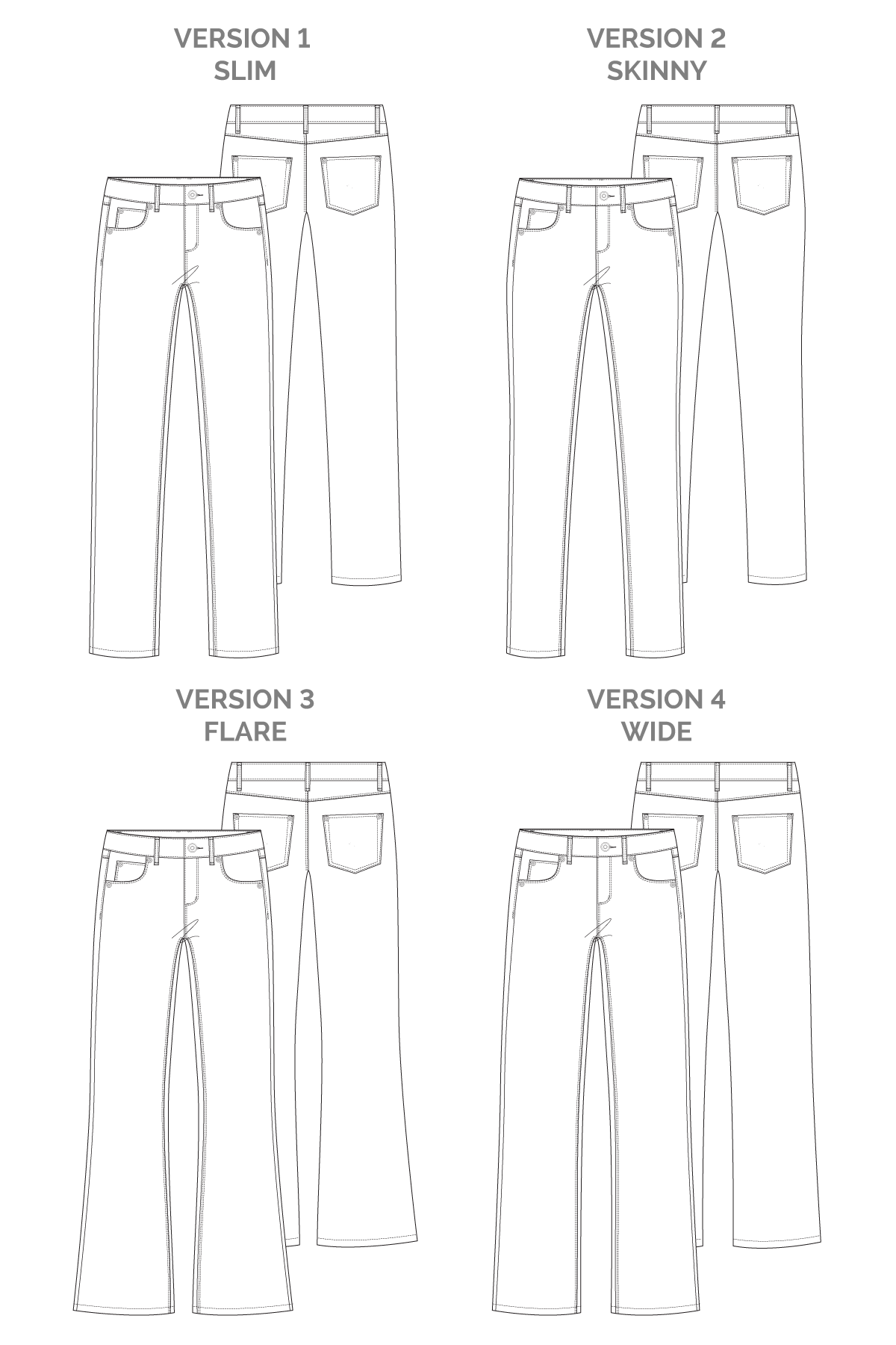 Ash Jeans (4 in 1!) | Sewing Pattern - MaaiDesign
