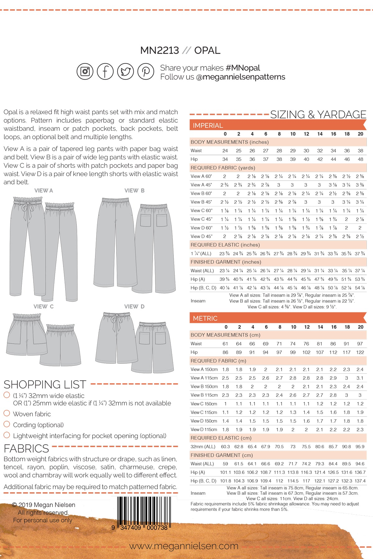 Opal Pants & Shorts | Sewing Pattern - MaaiDesign