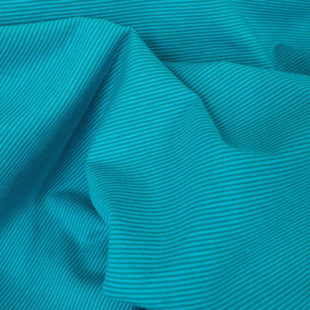 Cotton Jersey - Teal Thin Stripes - MaaiDesign