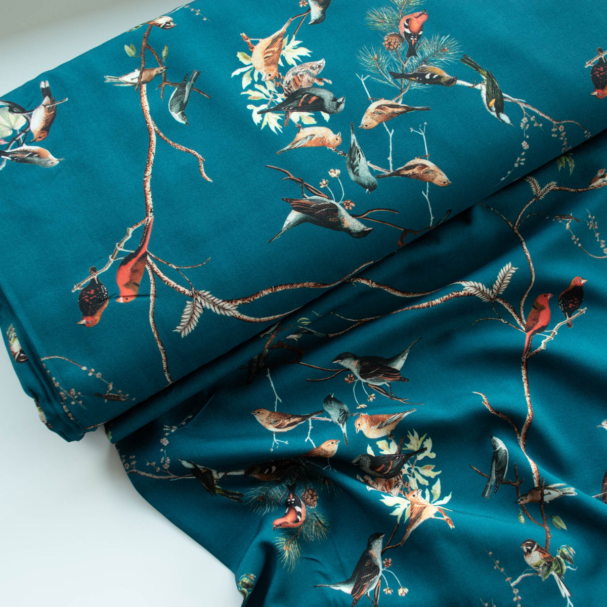 Lady McElroy - Viscose Challis Lawn - Evening Roost - Teal - MaaiDesign