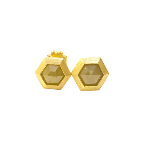 GEO BEZEL STUD EARRINGS WITH YELLOW HEX DIAMONDS - FINAL SALE