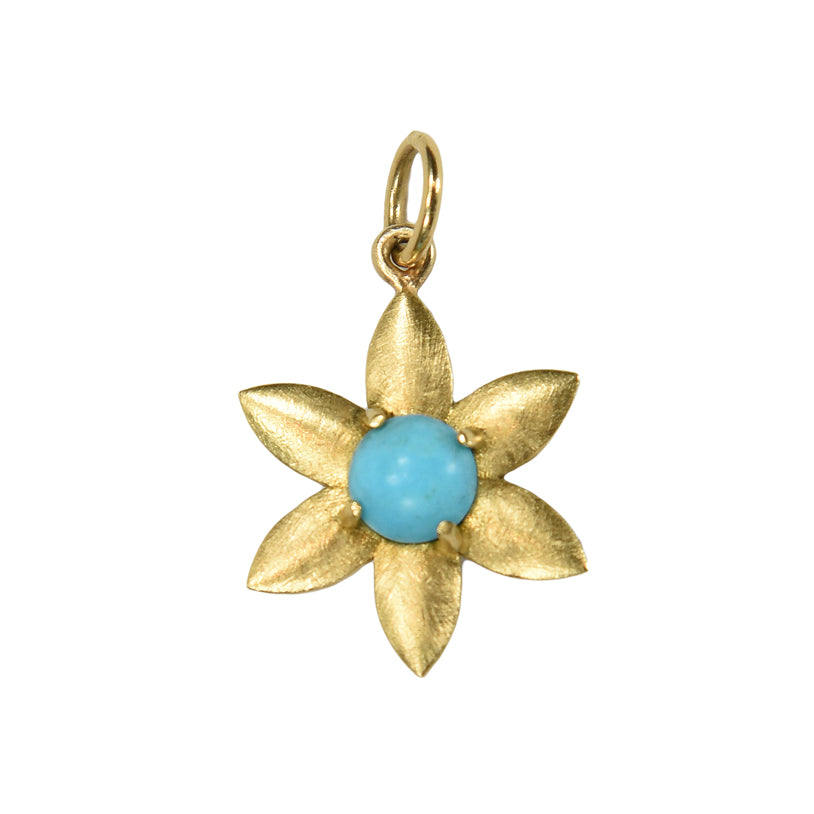 Turquoise Flower Charm