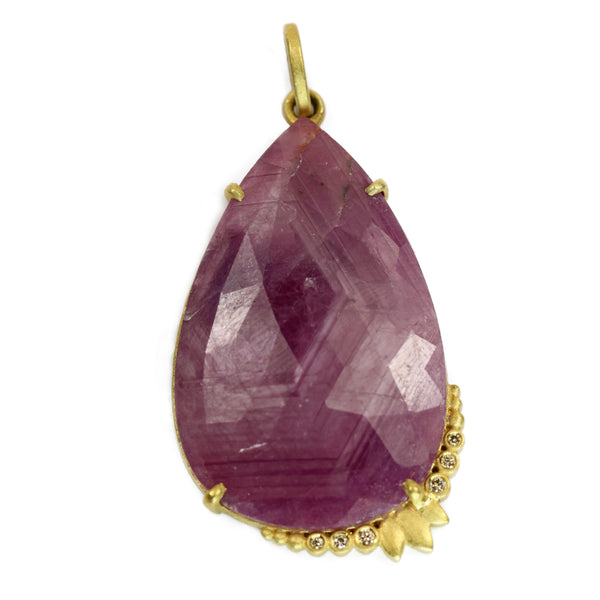 Large Pear Shaped Pink Sapphire Charm with Diamonds