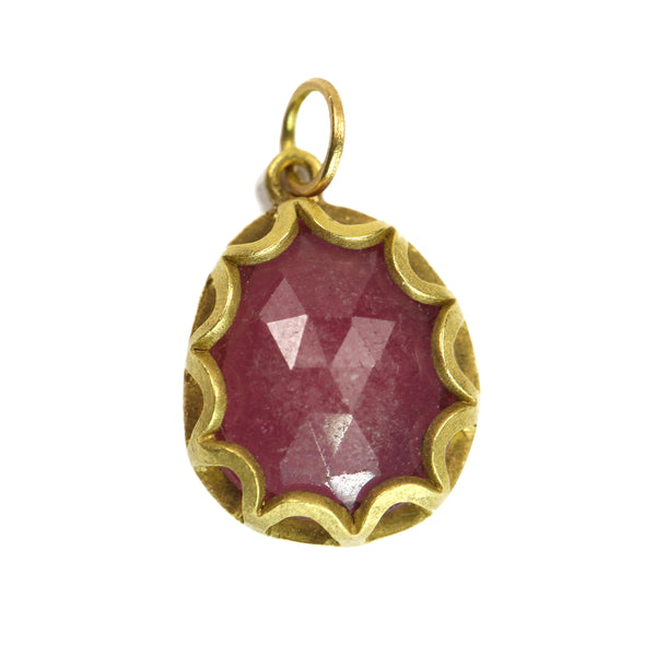 Small Pink Sapphire Petal Charm