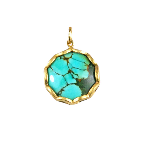 Round Turquoise Petal Charm