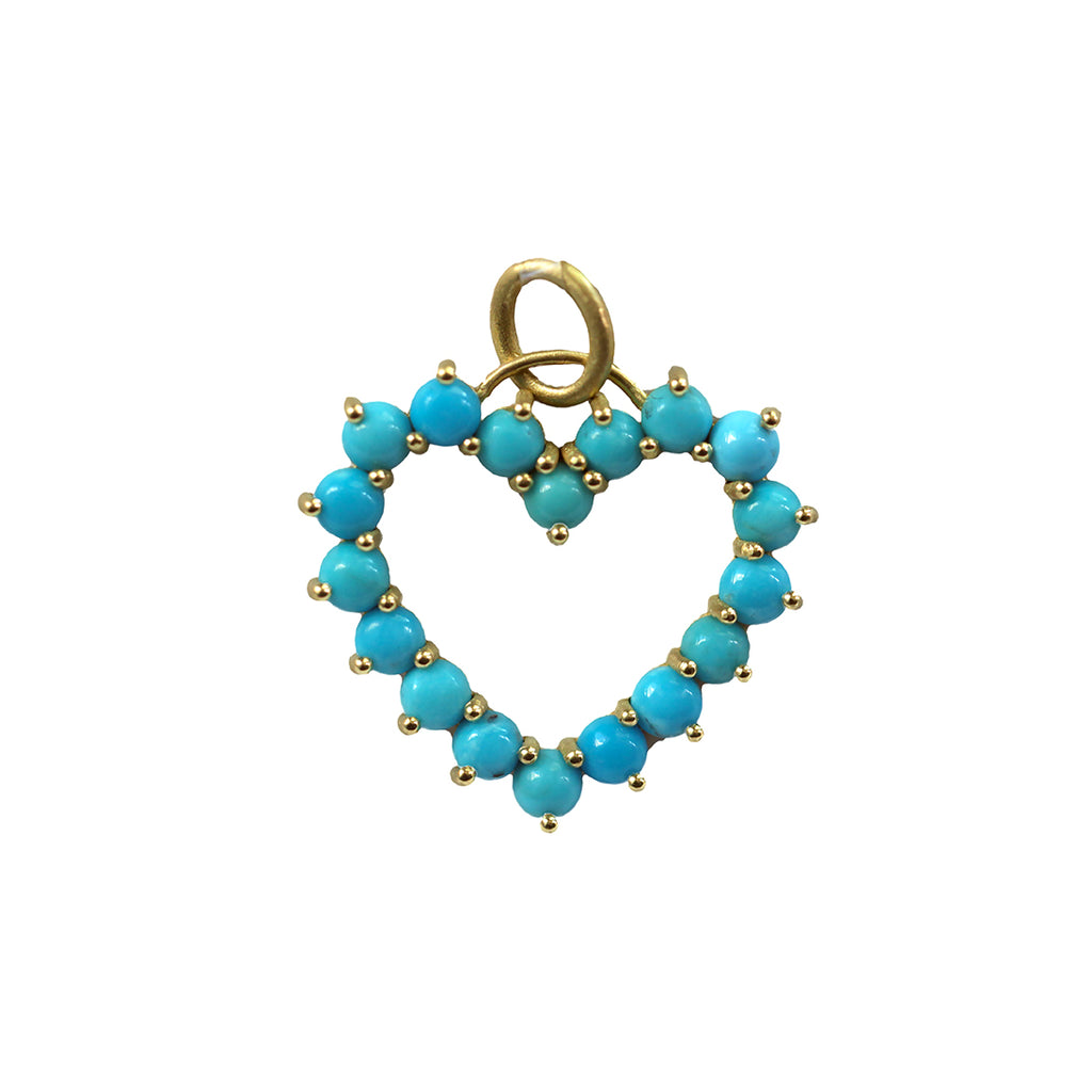 TURQUOISE PRONGED HEART CHARM