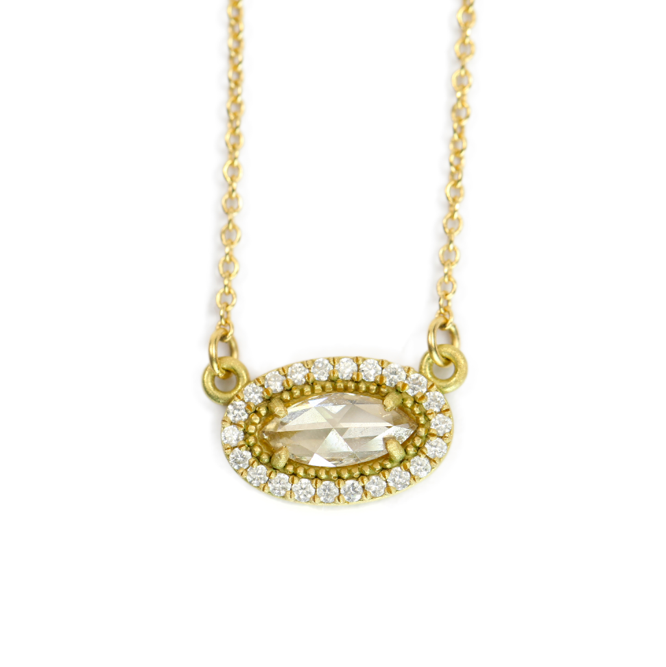 OVAL BEADED BEZEL ROSE CUT NECKLACE WITH HALO