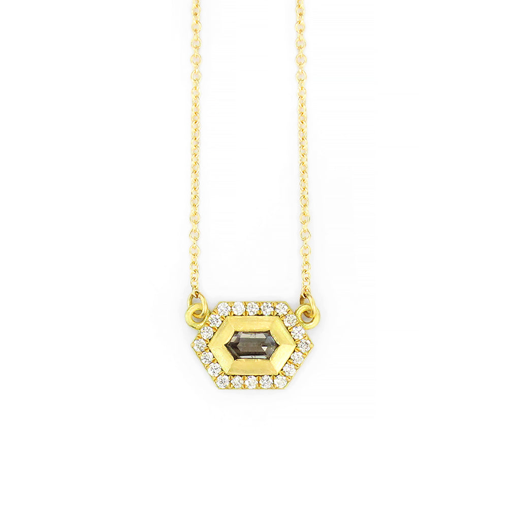 GEO HEX HALO NECKLACE WITH GREY HEX DIAMOND