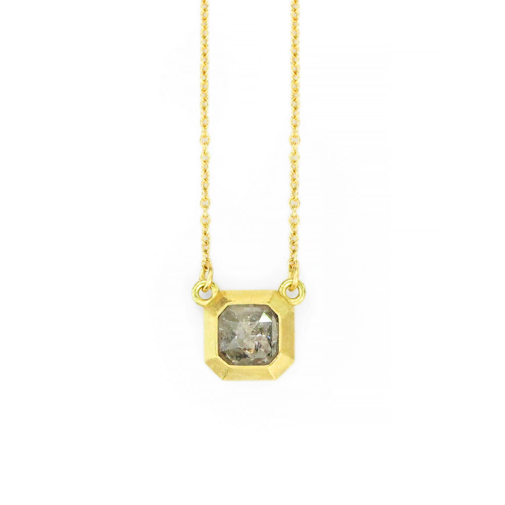 RUSTIC GEO BEZEL NECKLACE WITH GREY ASSCHER DIAMOND