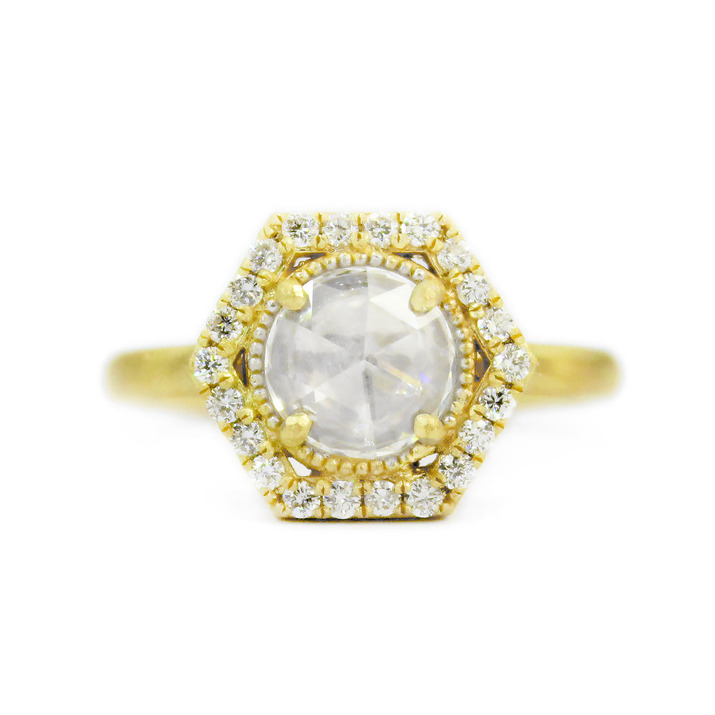 HEX HALO RING WITH ROSE CUT DIAMOND