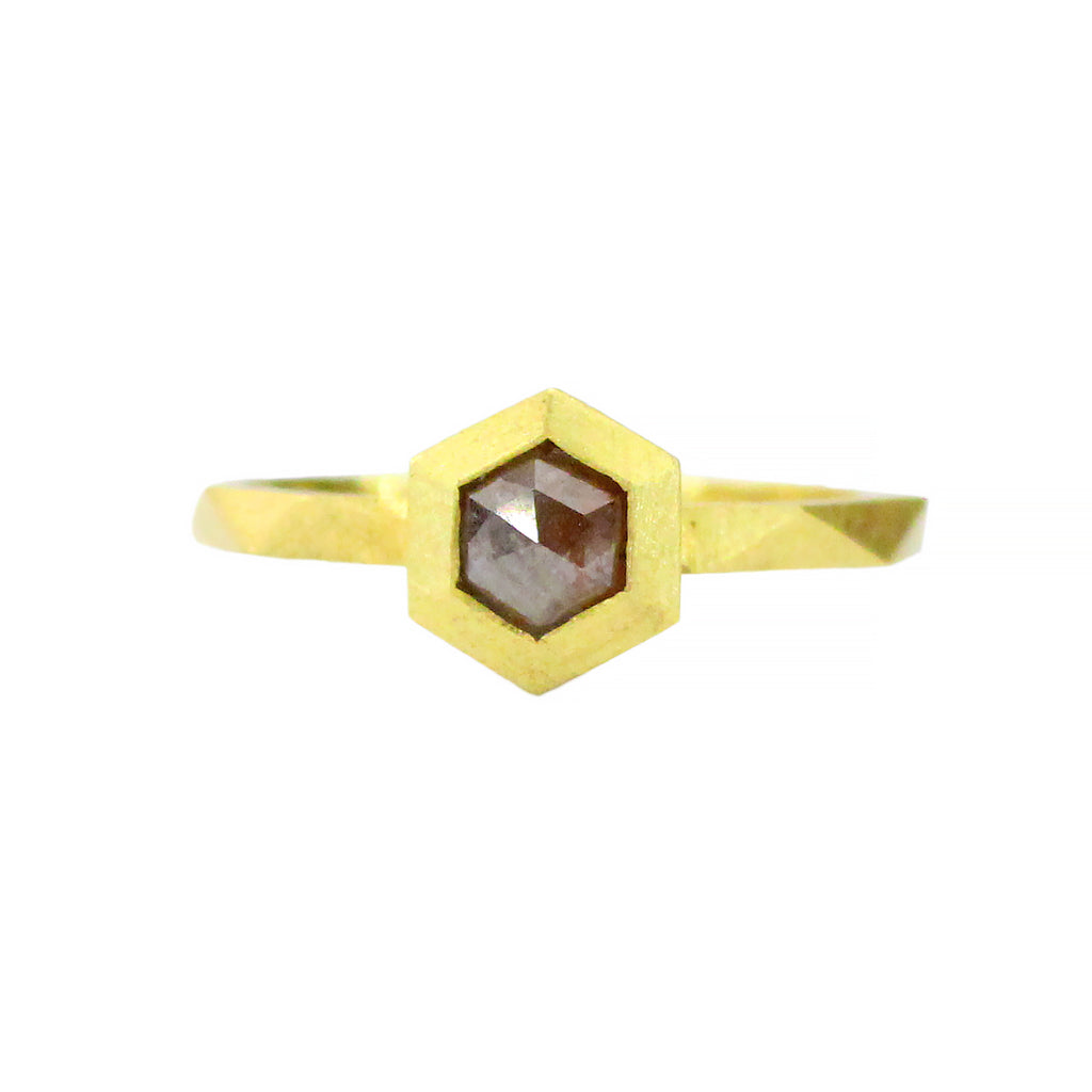 GEO BEZEL RING WITH RED RUSTIC HEX DIAMOND - FINAL SALE