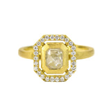 GEO HALO RING WITH ICEY RUSTIC ASSCHER DIAMOND
