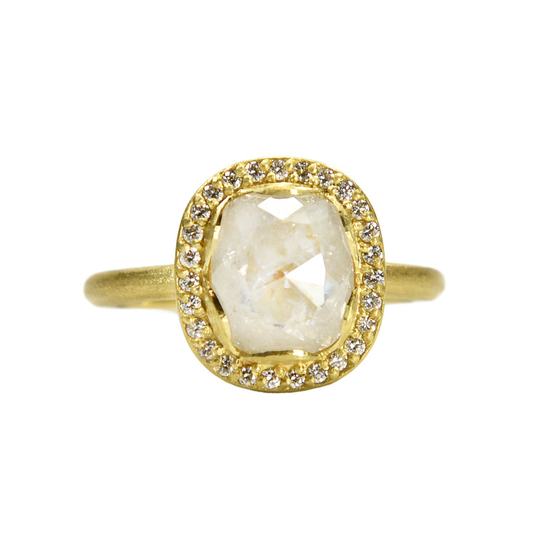 PETAL HALO RING WITH ICEY CUSHION DIAMOND