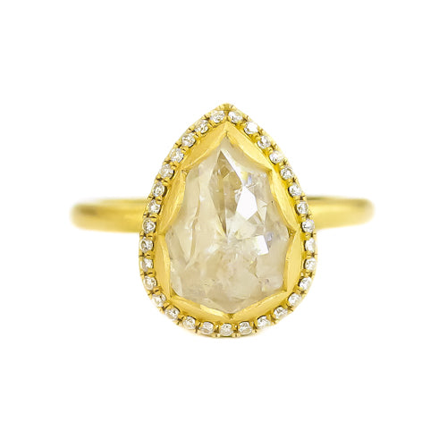 PETAL HALO RING WITH ICY PEAR DIAMOND