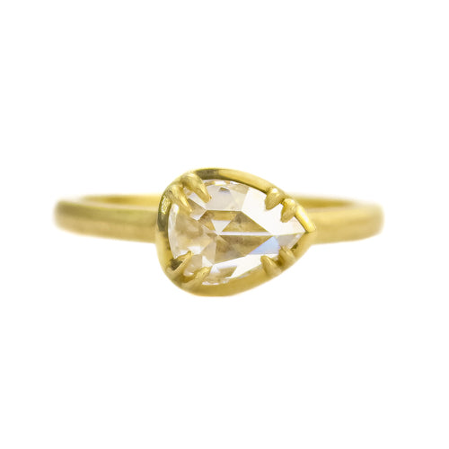 SIGNATURE PRONG RING WITH PEAR ROSE CUT DIAMOND