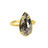 SIGNATURE PRONG RING WITH BLACK RUSTIC PEAR DIAMOND
