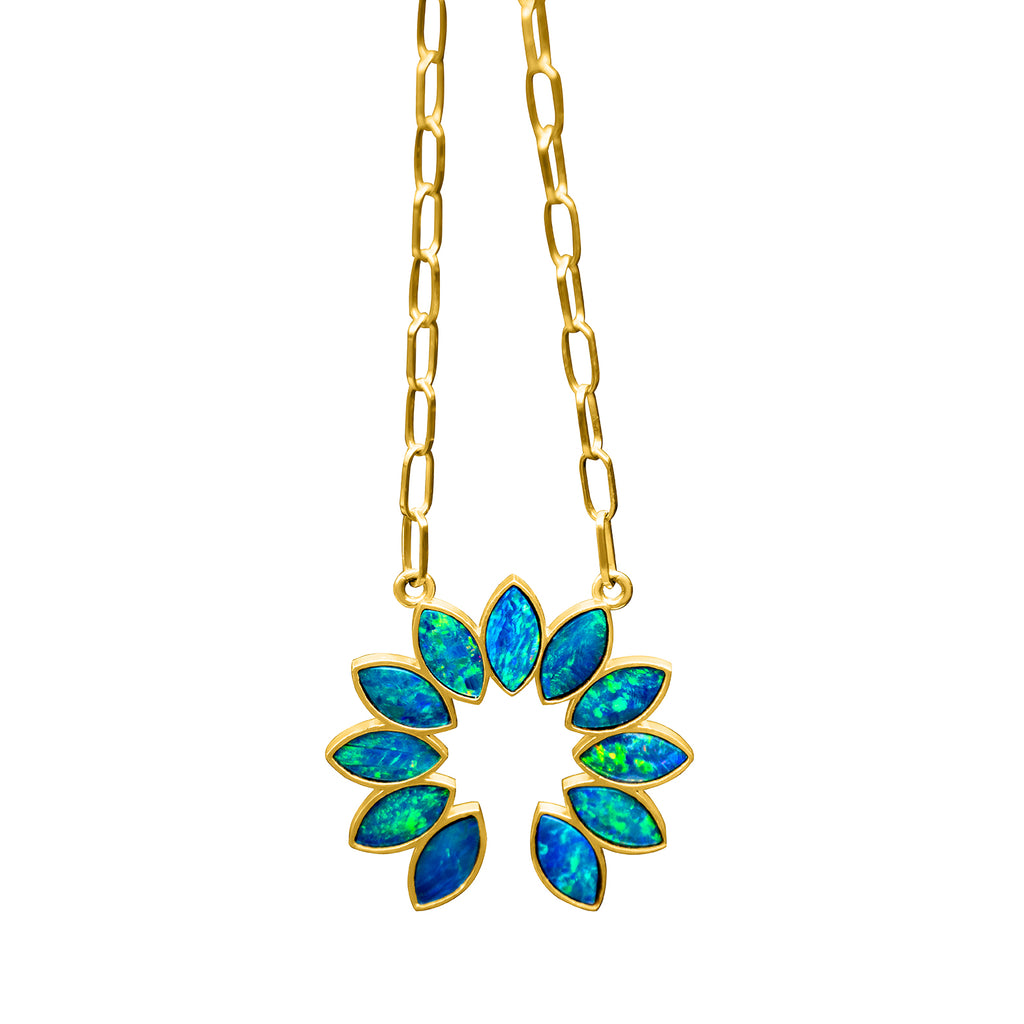 OPAL SQUASH BLOSSOM NECKLACE