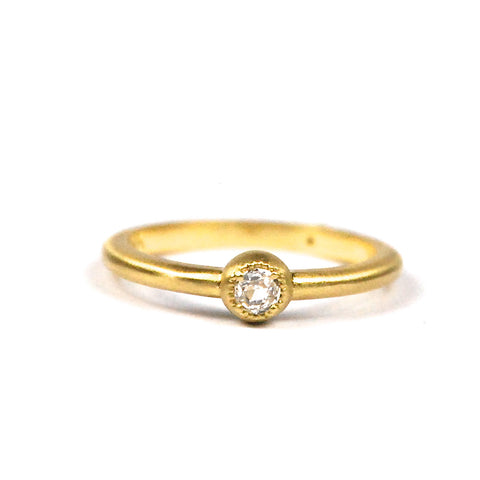 SIGNATURE BEADED BEZEL RING WITH ROUND ROSE CUT