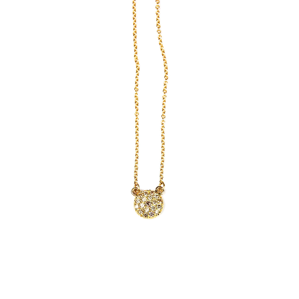 Mini Pave Dot Necklace in 18K Yellow Gold by Samantha Louise Jewelry