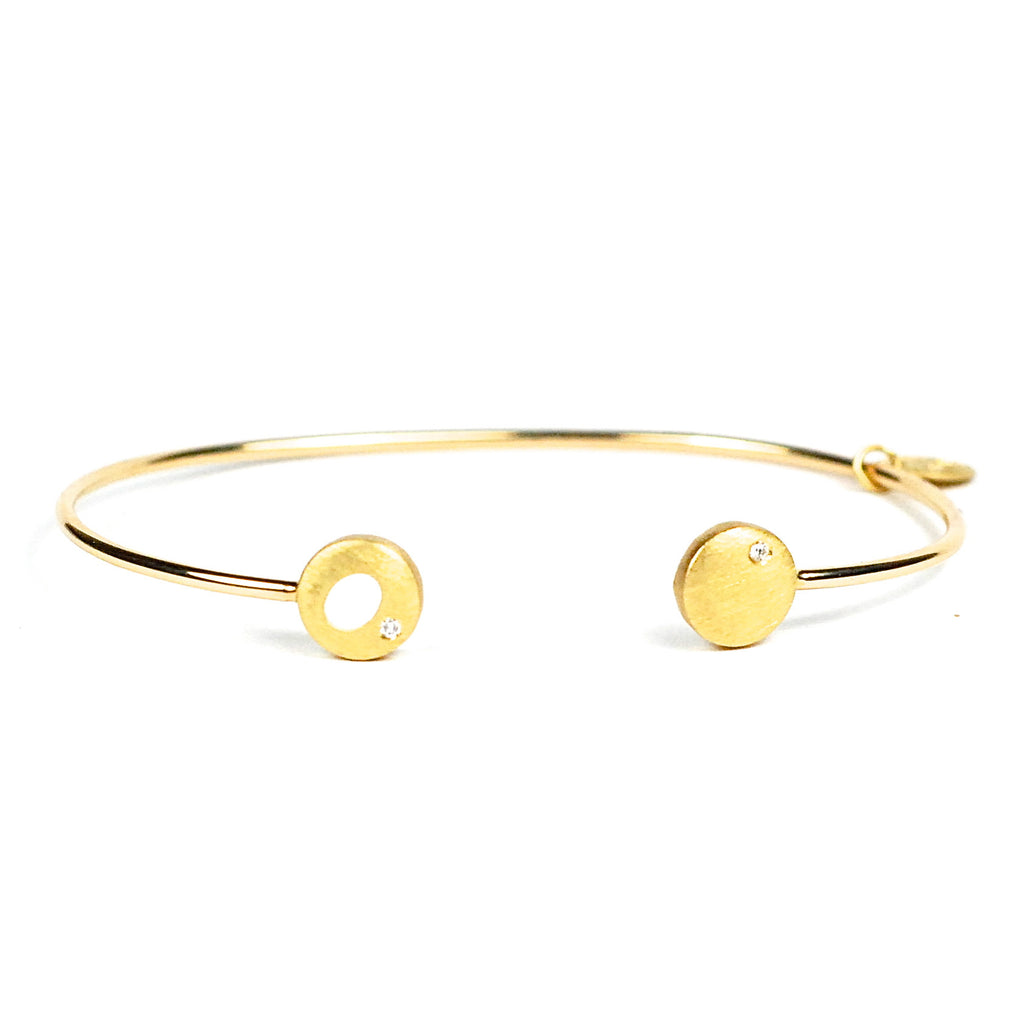Simple Dot & Halo Cuff in 18K Yellow Gold by Samantha Louise Jewelry