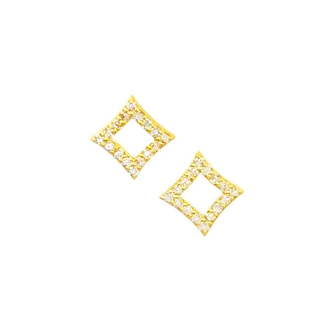 PAVE OPEN NORTH STAR STUD EARRINGS