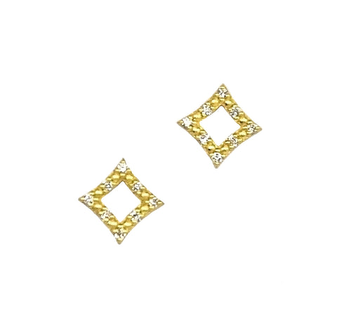MINI DIAMOND & DOT OPEN STAR STUD EARRINGS - ONLINE EXCLUSIVE
