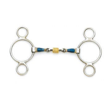 Blue Steel 2-Ring Gag with Loose Brass Roller Disks