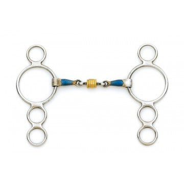 Blue Steel 3-Ring Gag with Loose Brass Roller Disks