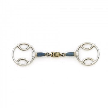 Blue Steel Loop Ring Gag with Brass Rollers