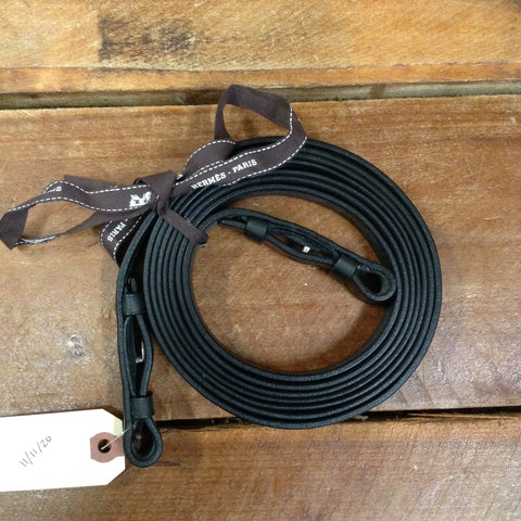 Hermes Black Plain Leather Reins
