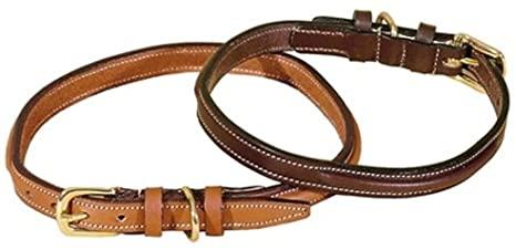 Tory Leather Narrow Raised & Stitched Dog Collar