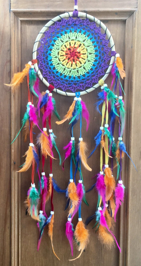 Rainbow Ratan Crochet Dreamcatcher