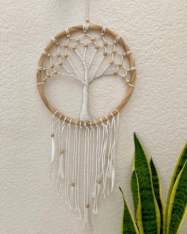 Large Rattan Beaded Crochet Dreamcatcher