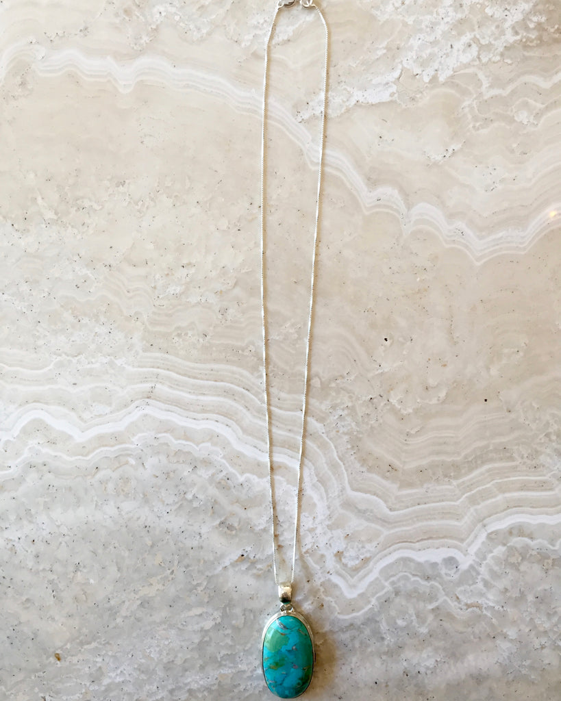Turquoise and Silver Retrograde Necklace