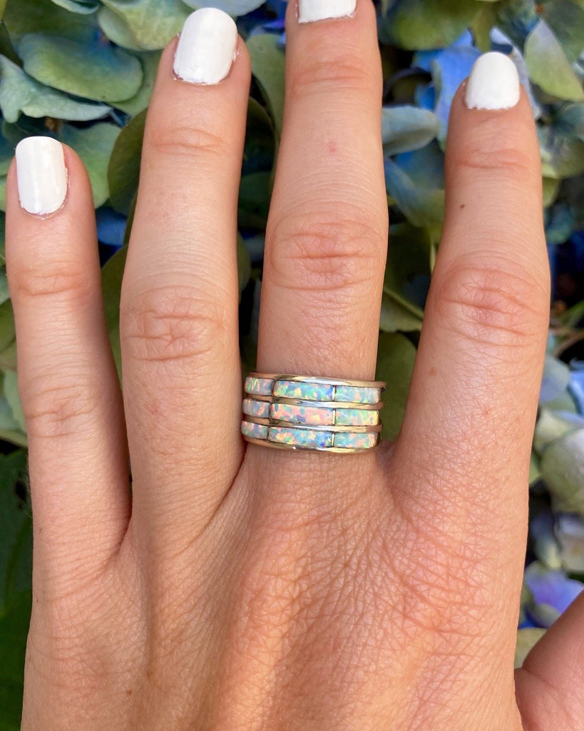 Sterling Silver Opal Stack Ring