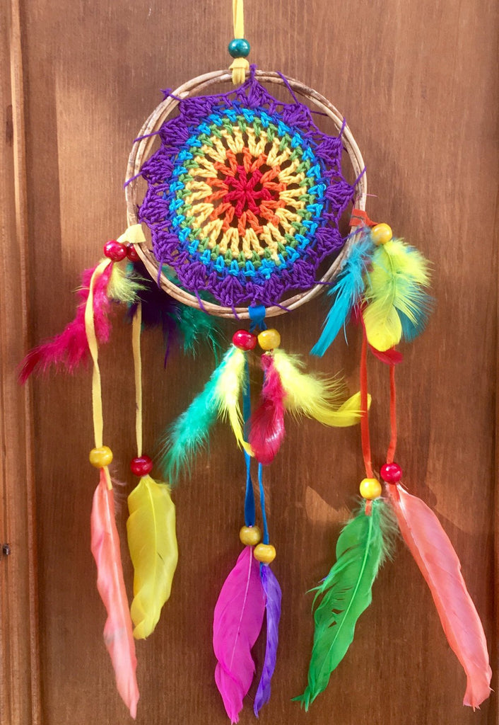 Rainbow Ratan Crochet Dreamcatcher - Small