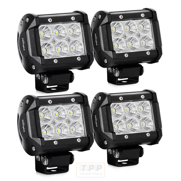 4PCS LED Light Bar 4 Inch 18W LED Bar 1260lm Flood Led Off Road-The Part palace