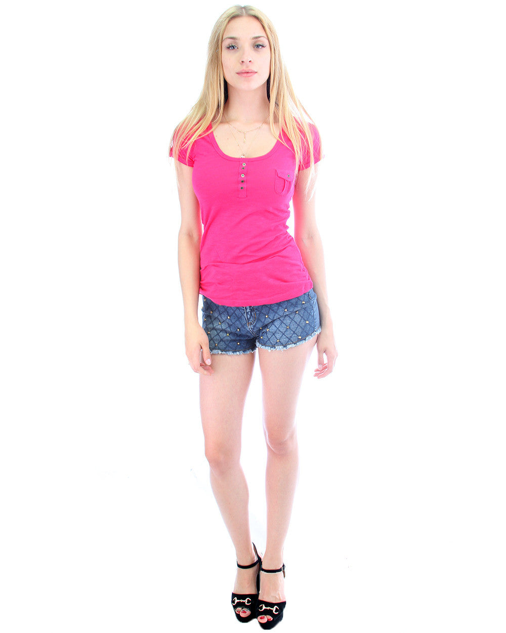 Short Sleeve Button Up Shirt with Pocket in Fuschia