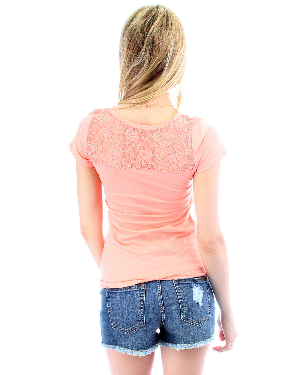 Floral Back Lace Side Tie Top in Peach
