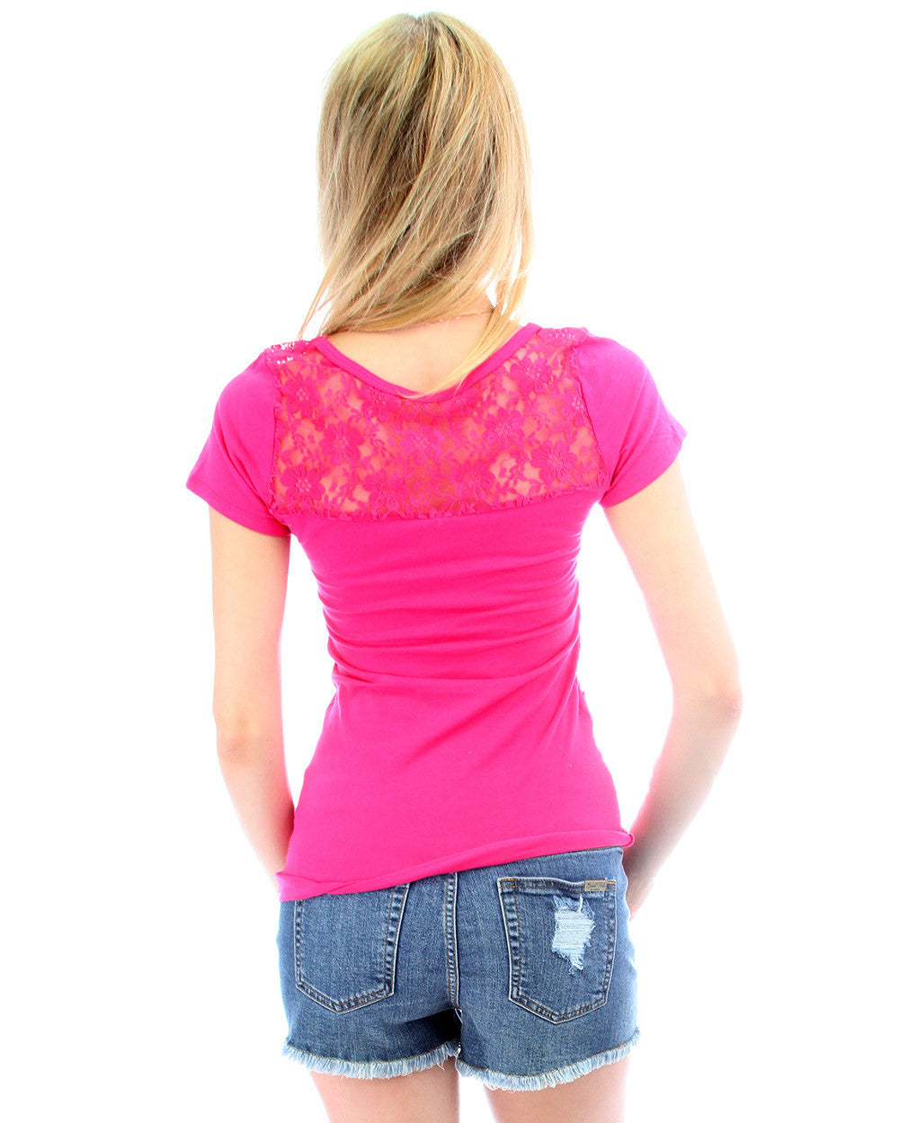 Floral Back Lace Side Tie Top in Fuschia