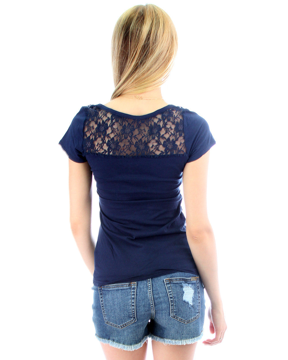 Floral Back Lace Side Tie Top in Navy
