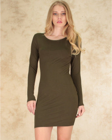 Comeback Baby Long Sleeve Bodycon Dress In Olive