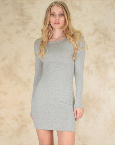 Comeback Baby Long Sleeve Bodycon Dress In Grey