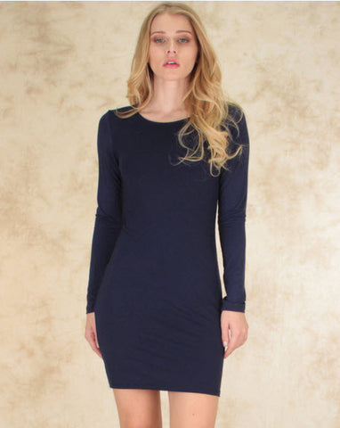 Comeback Baby Long Sleeve Bodycon Dress In Navy